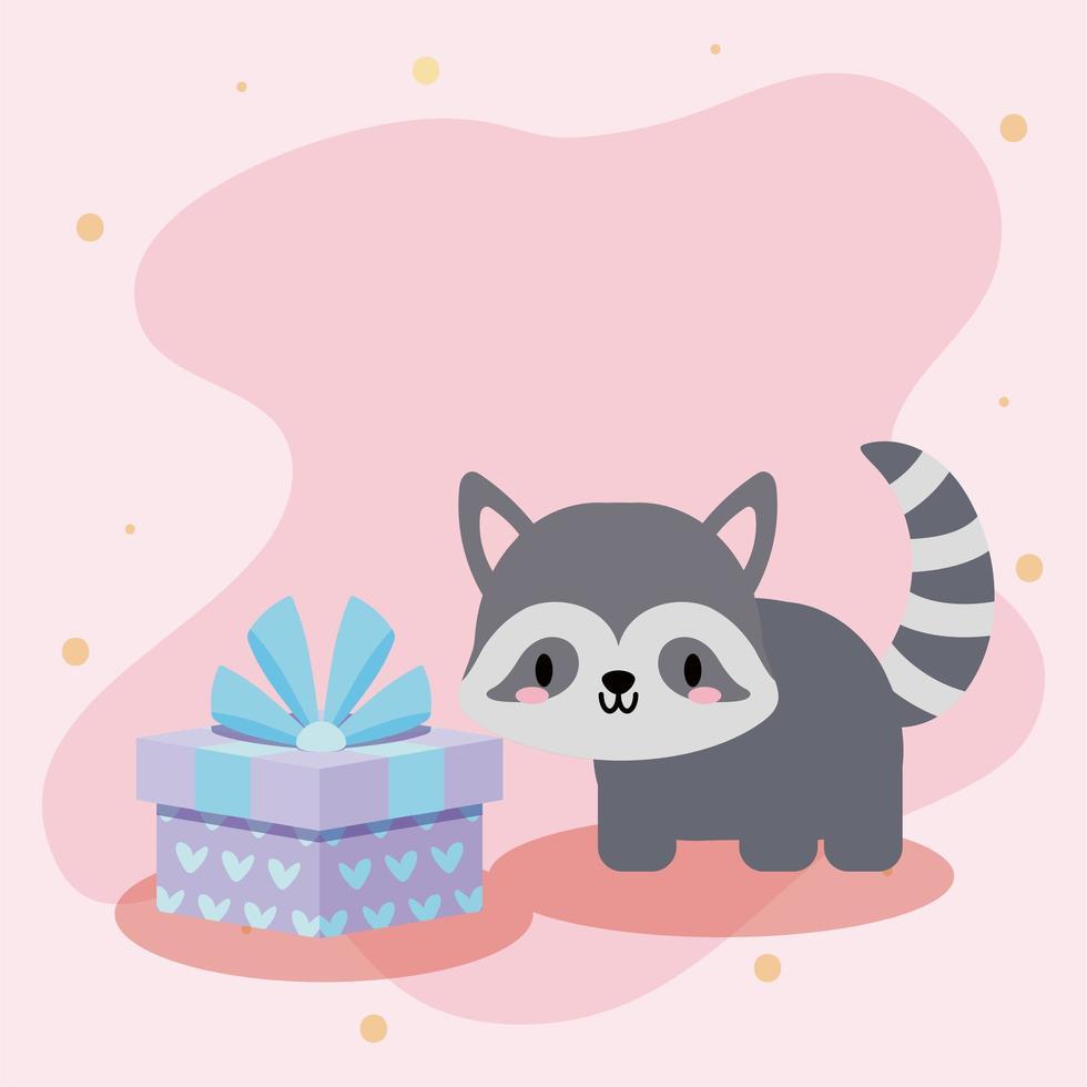 söt födelsedagskort med kawaii tvättbjörn vektor
