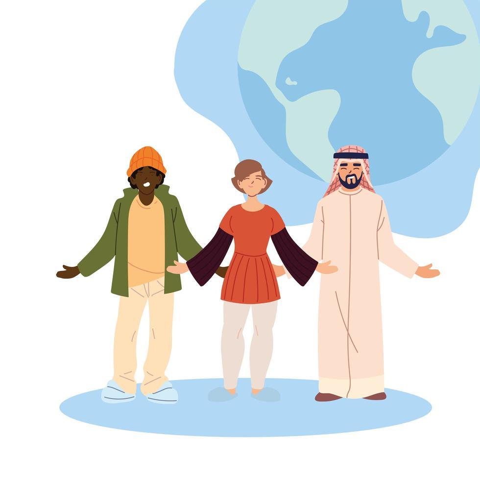 tecknad svart kvinna och arabiska män med världssfärvektordesign vektor