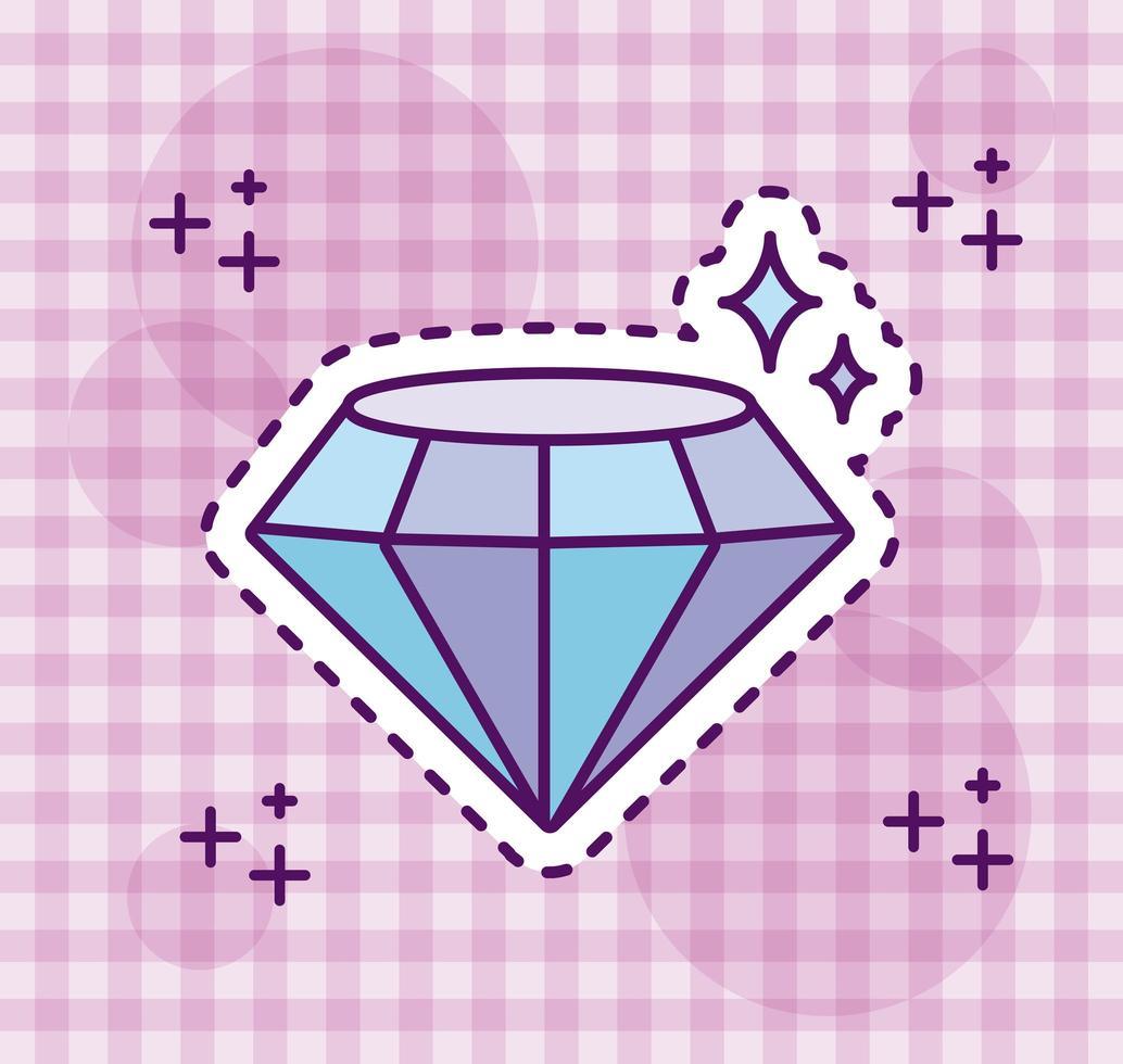 glänsande diamant, klistermärke stil vektor