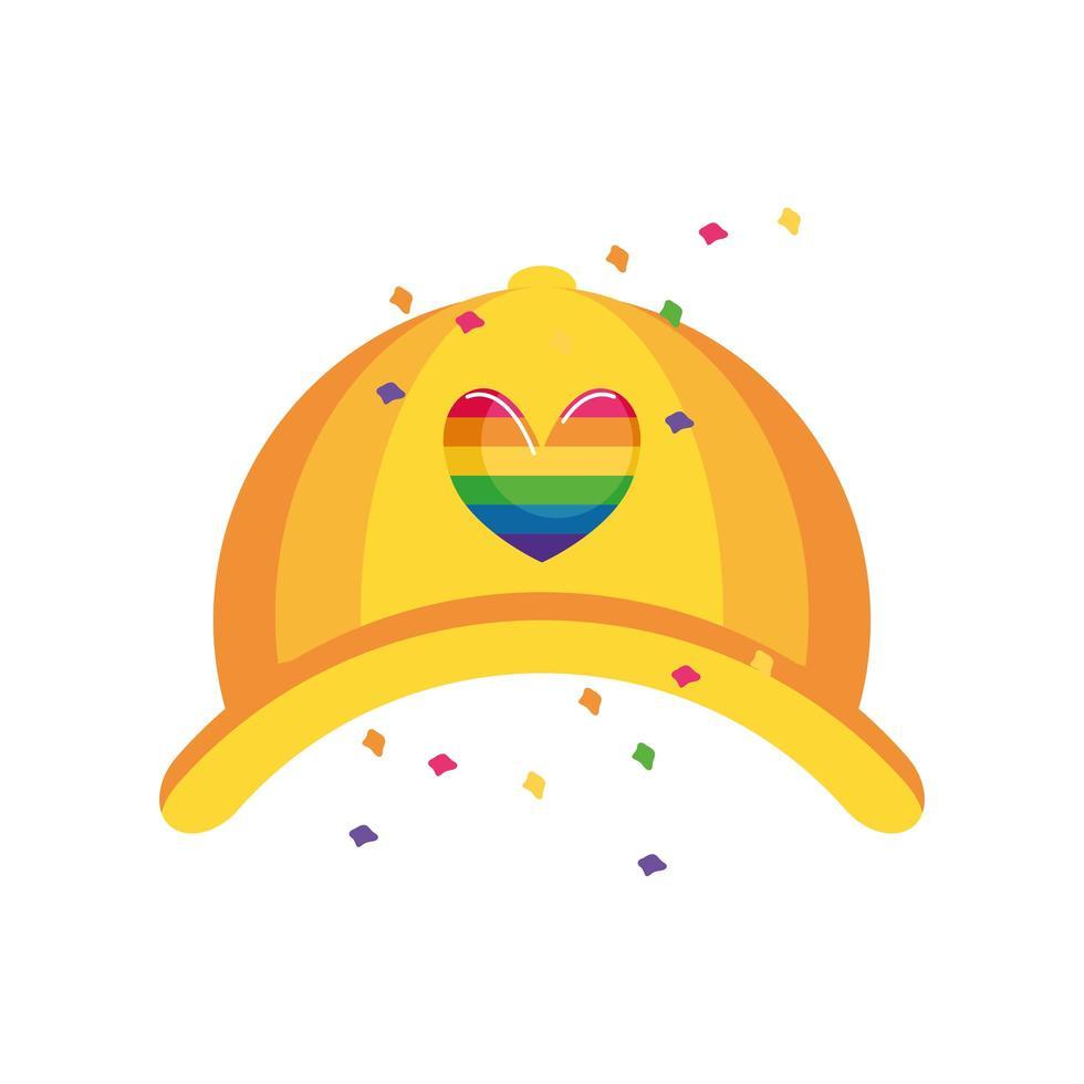 hatt med gay pride hjärtsymbol vektor