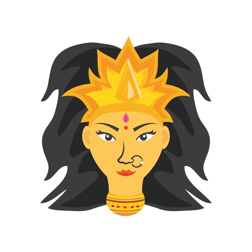 Gesicht der Göttin Durga auf weißem Hintergrund vektor