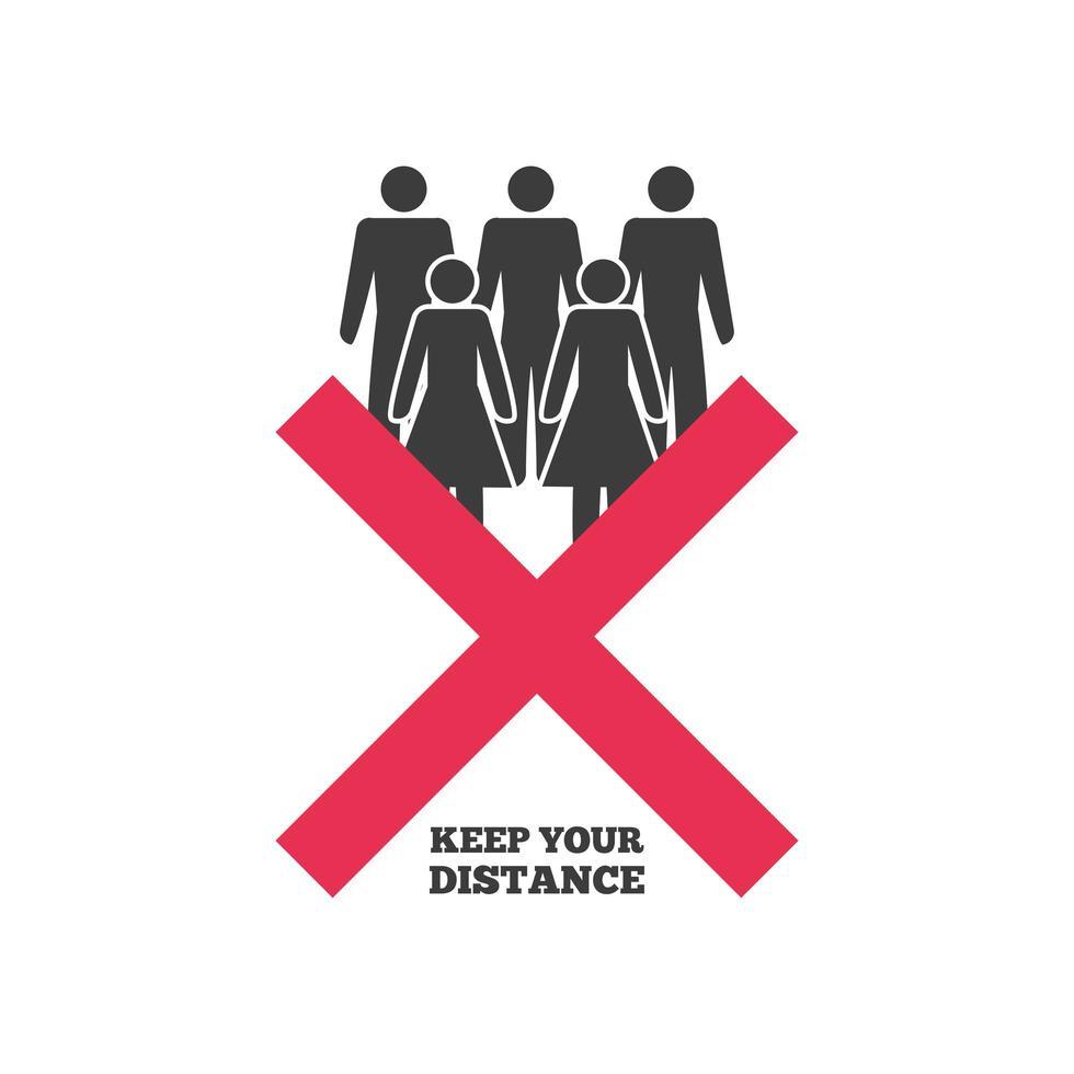 håll ditt sociala avstånd, risken för infektion med coronavirus eller covid 19 vektor