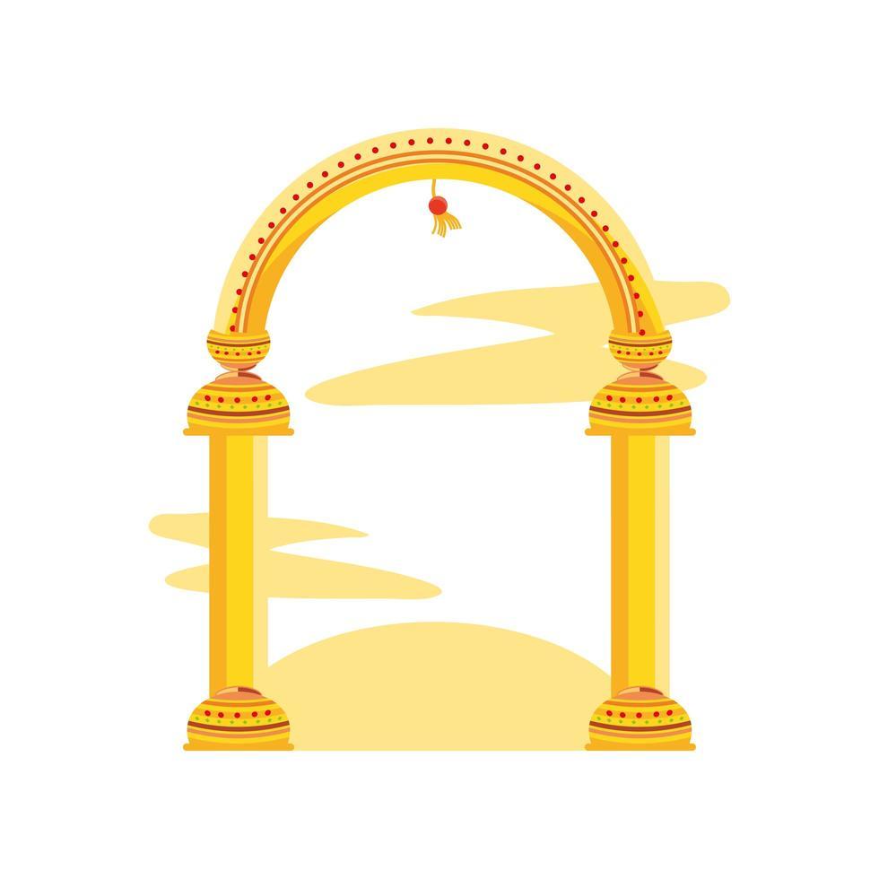 gyllene kolonnbågen på vit bakgrund vektor