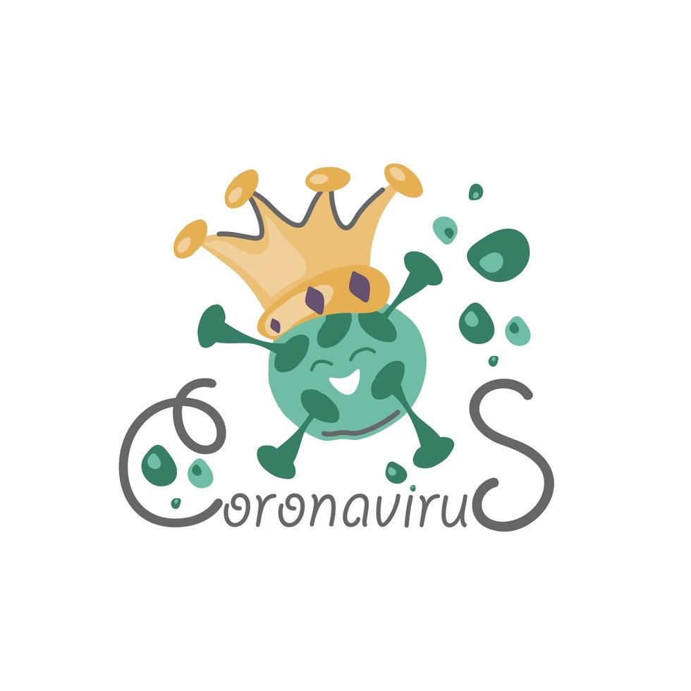 grön tecknad coronavirusbugg med krona vektor