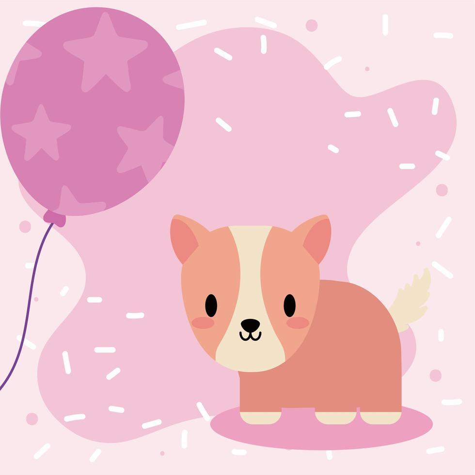 söt födelsedagskort med kawaii marsvin vektor