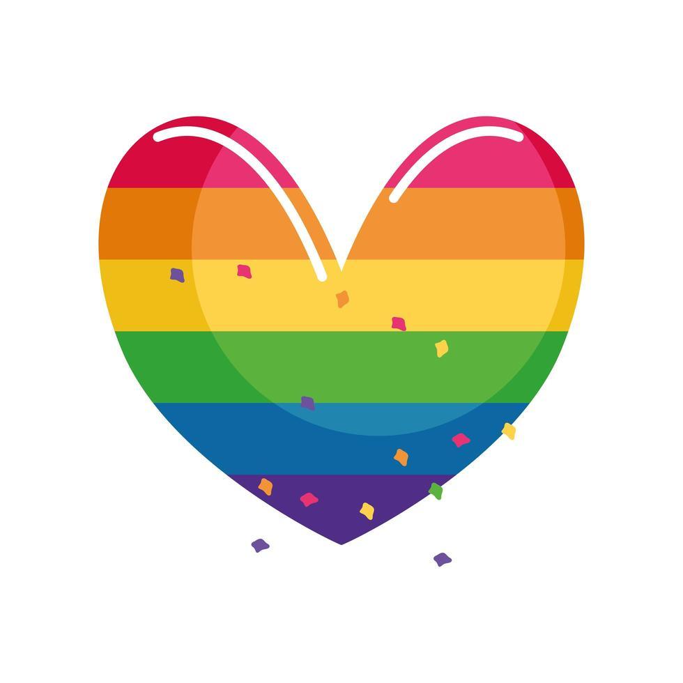 hjärta med regnbågsflaggfärger för sexuell identitet på vit bakgrund vektor