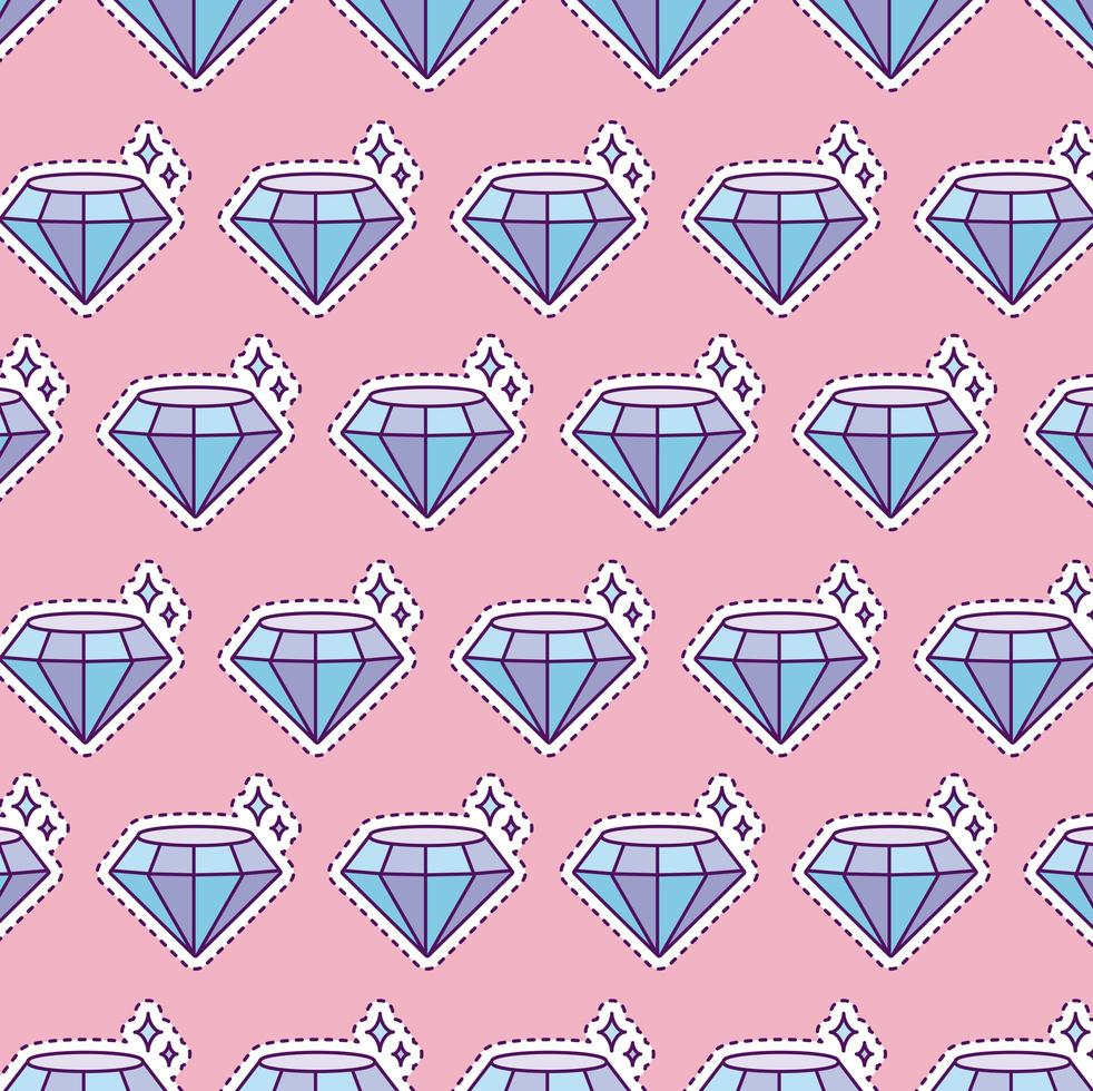 mönster med glänsande diamant, lappstil vektor