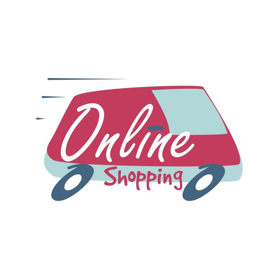 Online-Shopping-Schriftzug auf schnellem Lieferwagen vektor