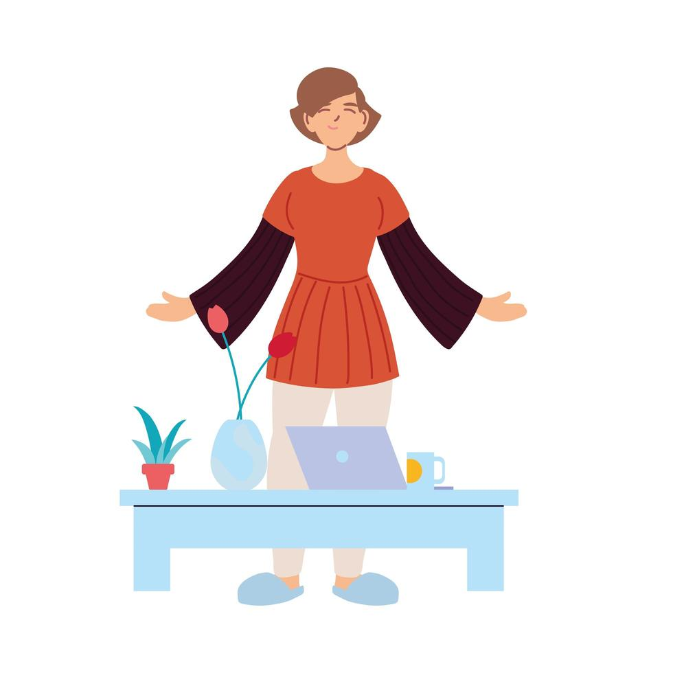 brunt hår kvinnatecknad film med bärbar dator på bordsvektordesign vektor