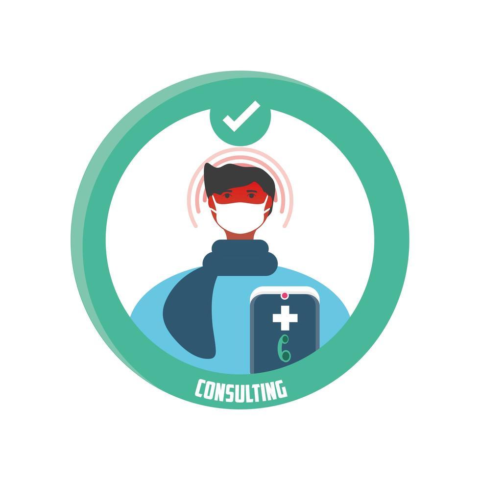mobil konsultation av en virtuell läkare, smart medicinsk hjälp vektor