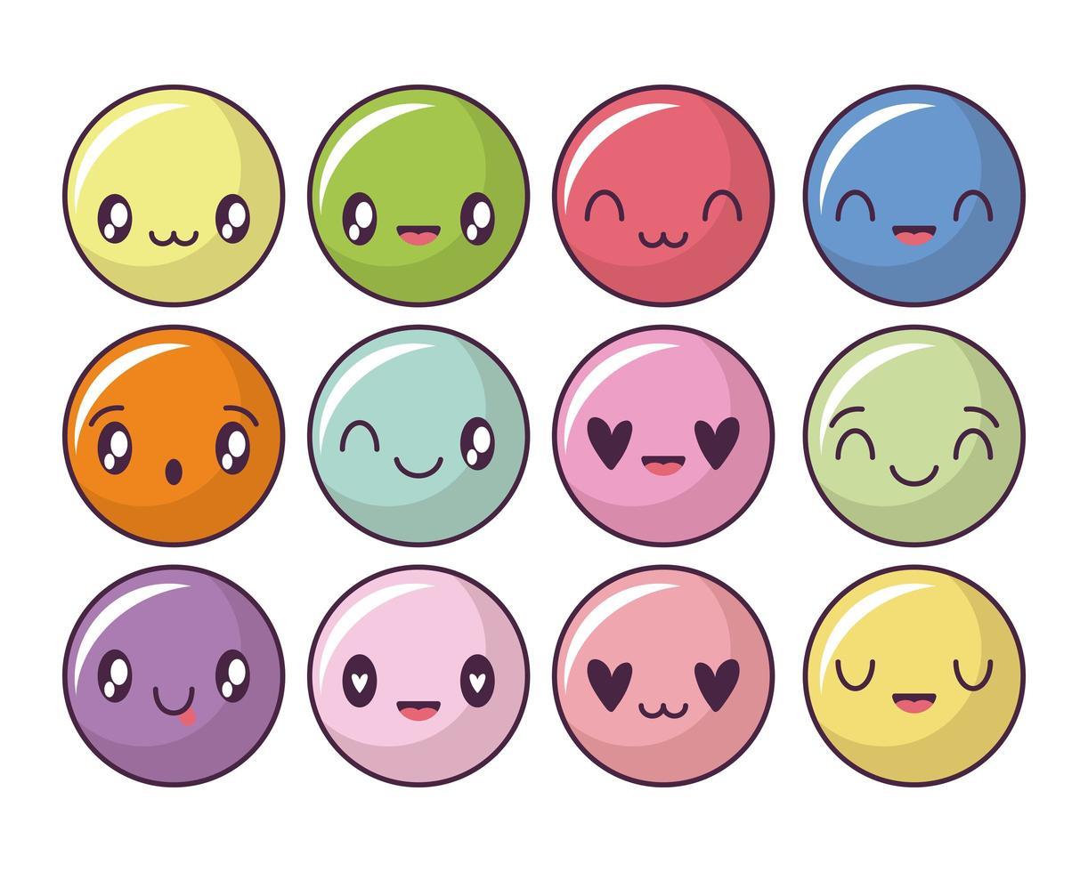Satz von glücklichen Gesichtikonen, kawaii Art Emoticons vektor