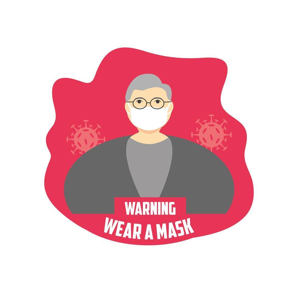 varningstecken, man som bär en medicinsk mask vektor