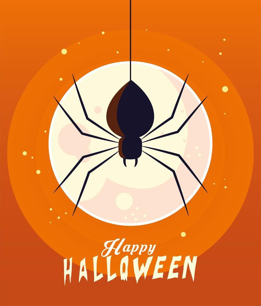 halloween svart spindel framför månen vektor design