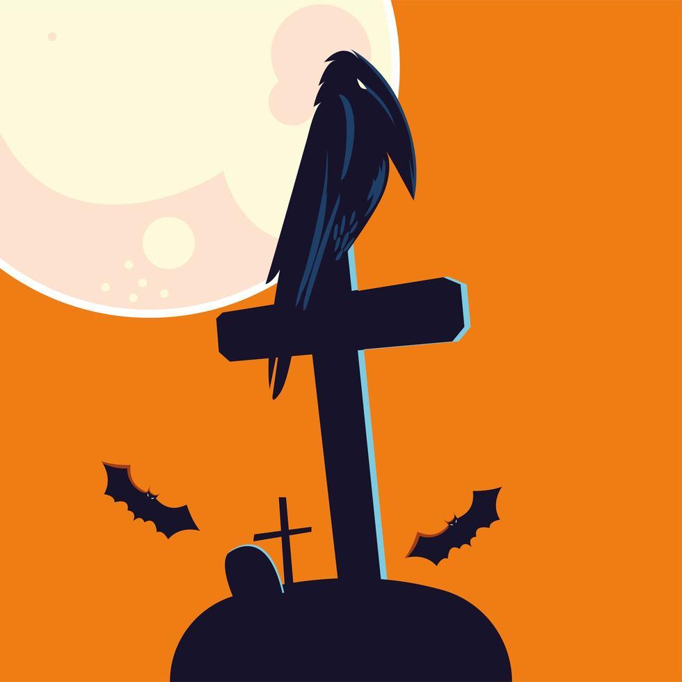 Halloween korpstecknad film på gravvektordesign vektor