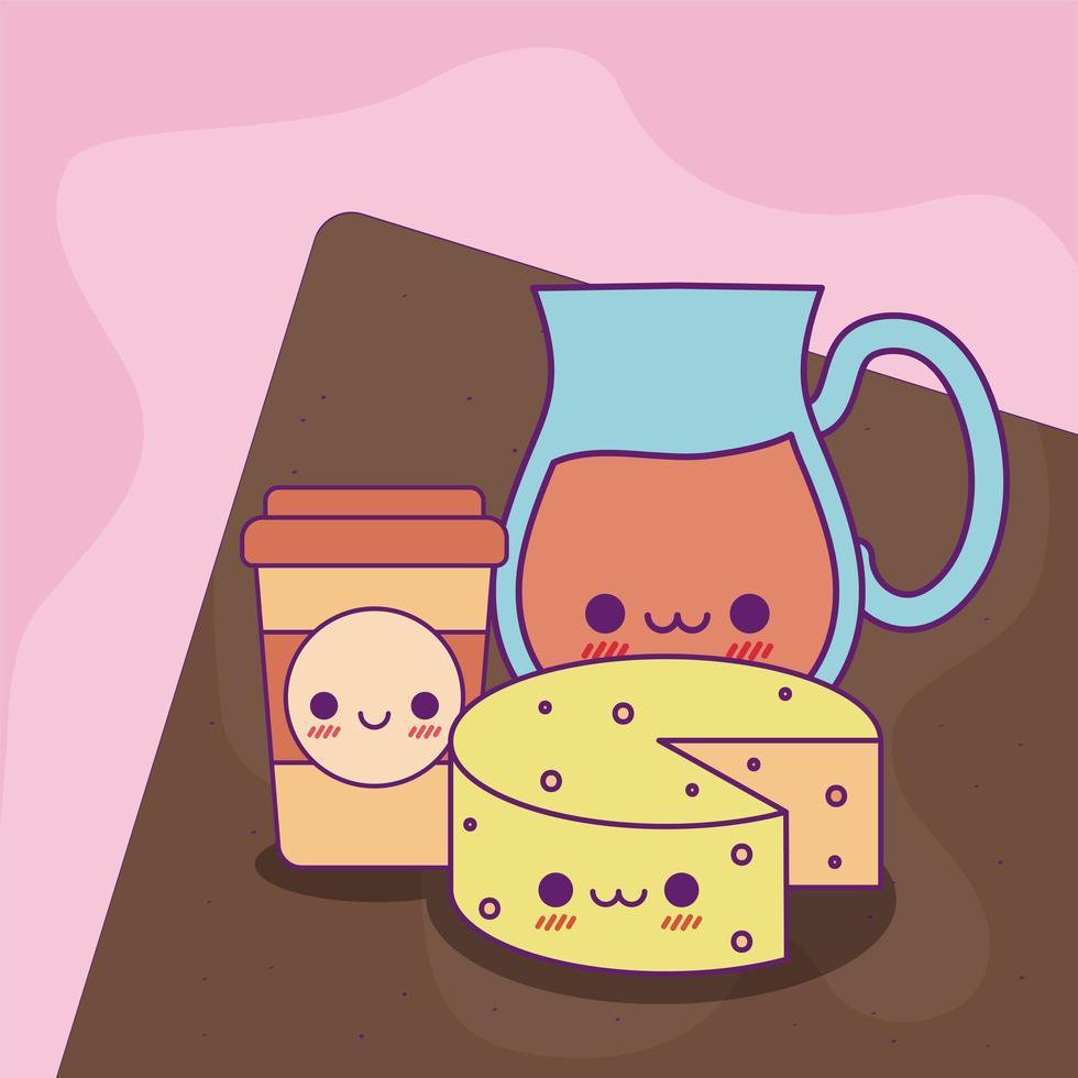 kawaii juice jar kaffe mugg och ost vektor design
