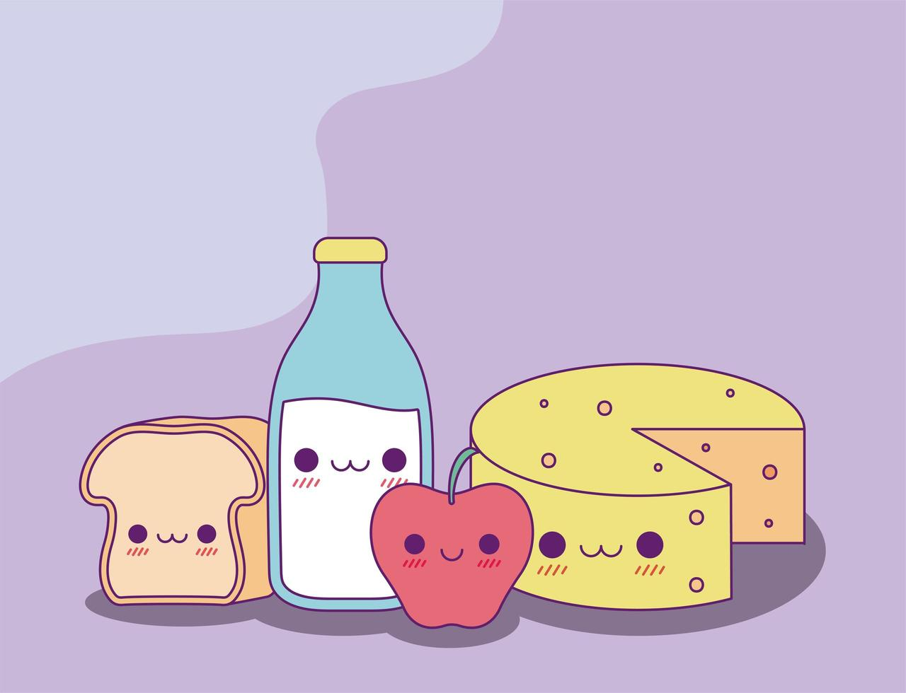 kawaii Brot Milchflasche Apfel und Käse Vektor-Design vektor