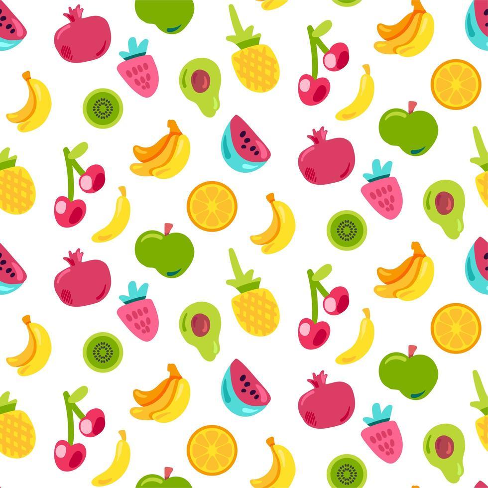 ljus sommar saftig frukt målade sömlösa mönster vektor