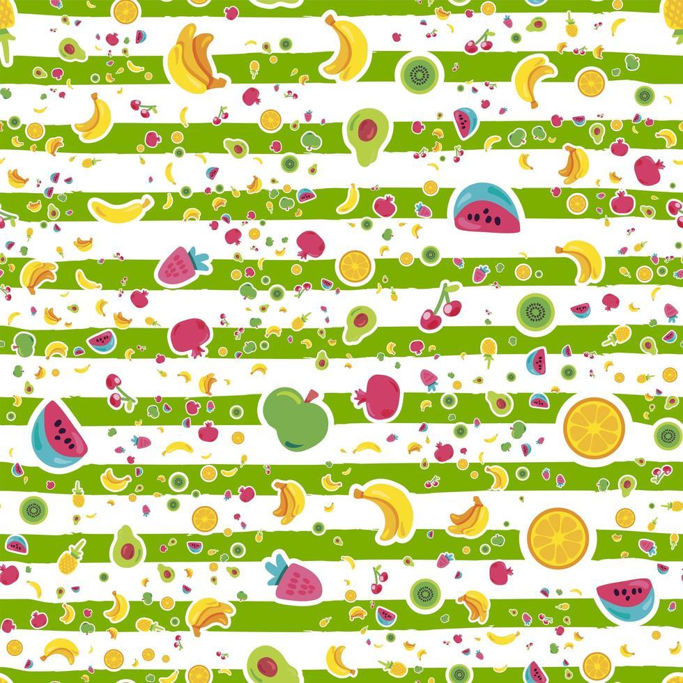 färsk sommar saftig frukt målade sömlösa mönster vektor