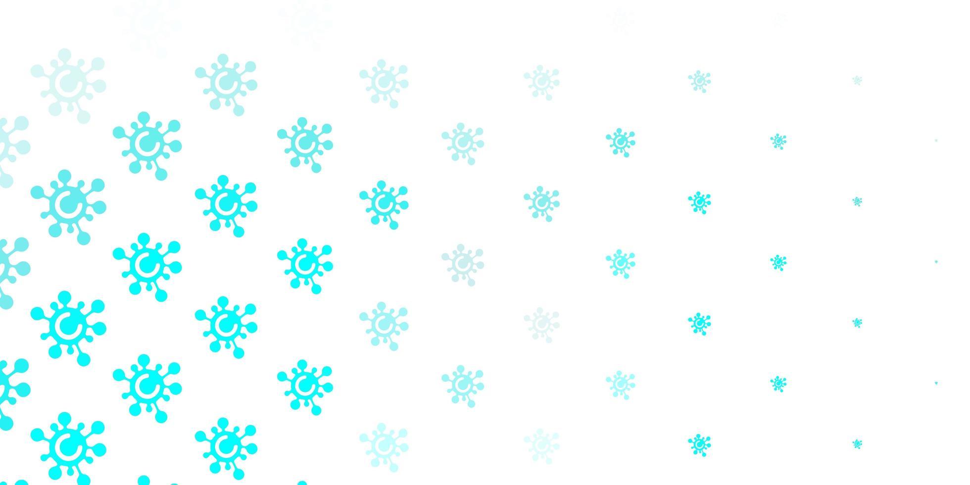 hellgrüner Vektorhintergrund mit covid-19 Symbolen. vektor
