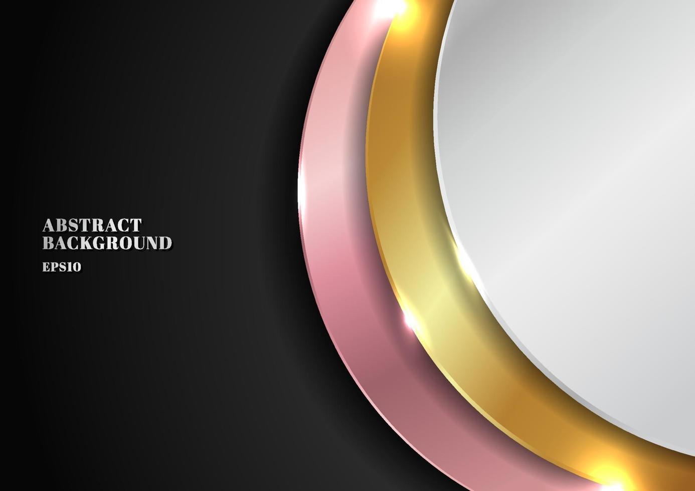 abstrakt modern gyllene, silver, rosa guld cirkeldesign vektor