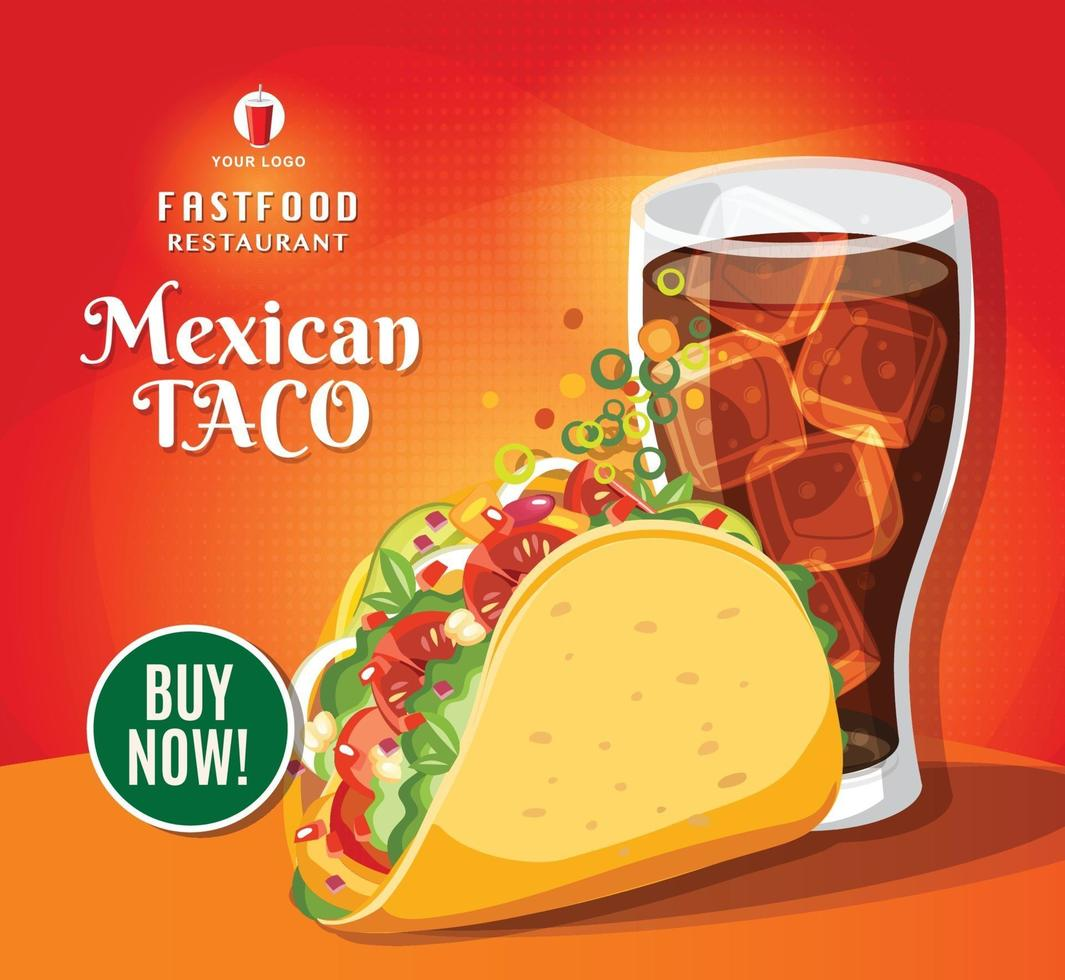 traditionell taco måltid, mexikansk mat snabbmat läckra tacos och cola vektorillustration vektor