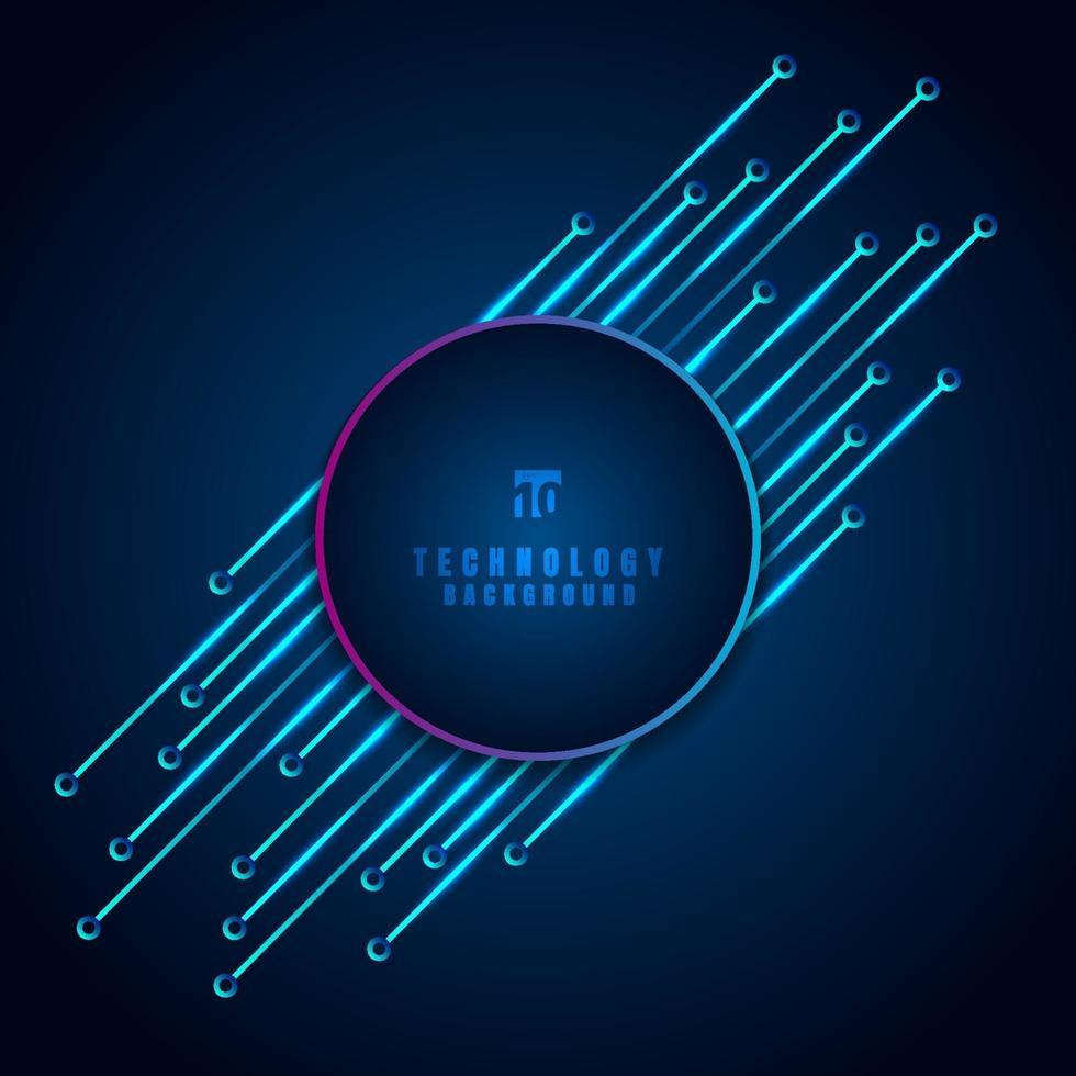 abstrakt modern digital teknik koncept cirkel ram med kretskort diagonalt element på blå bakgrund. vektor