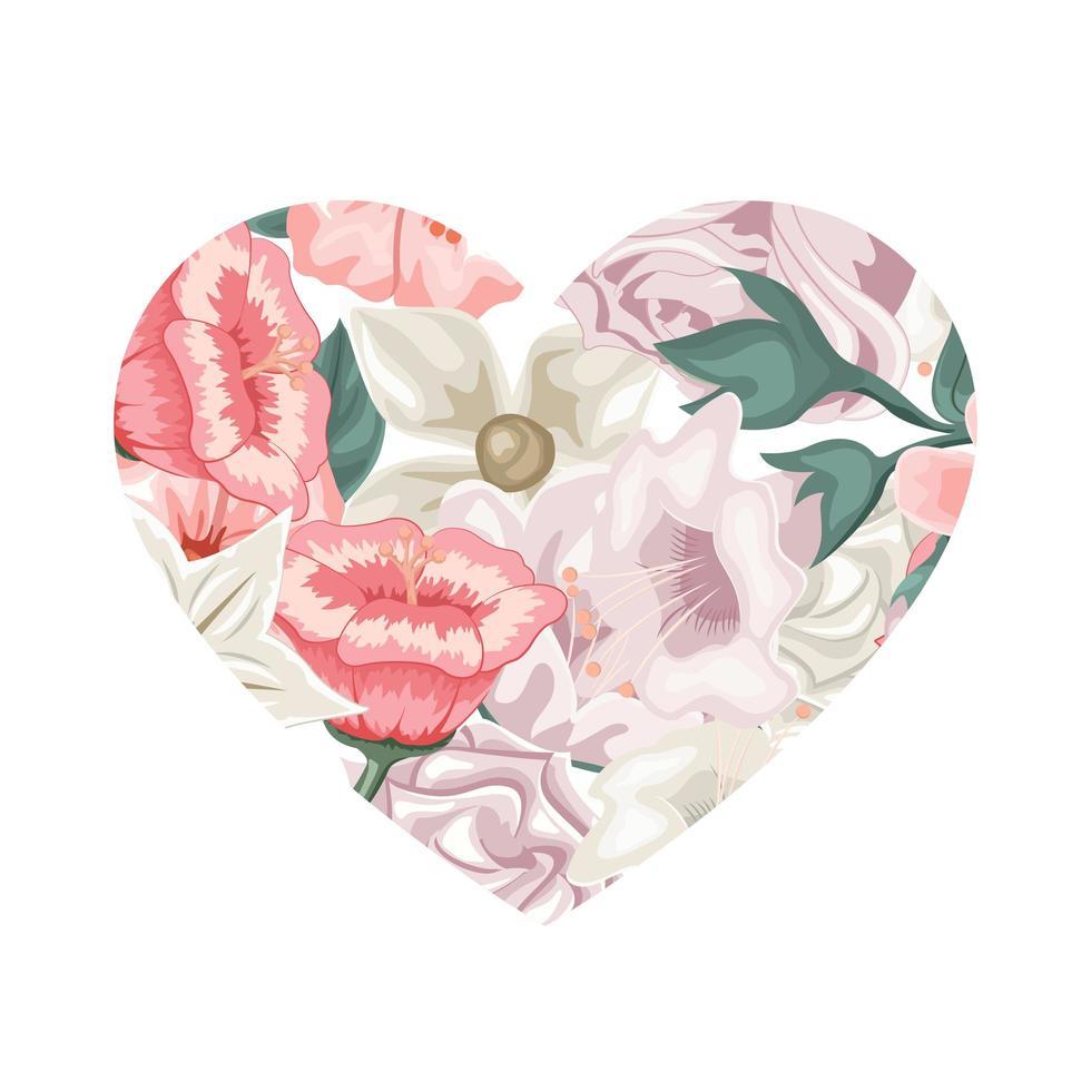 hjärtformade blommor alla hjärtans kärlekskort vektor
