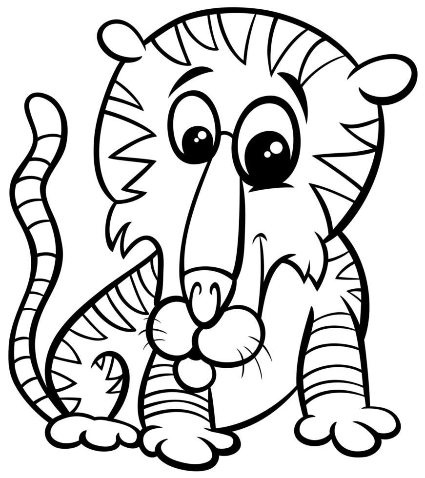 tiger djur karaktär tecknad målarbok sida vektor