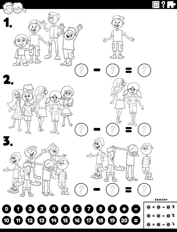 Subtraktion pädagogische Aufgabe mit Kinder Farbbuch Seite vektor