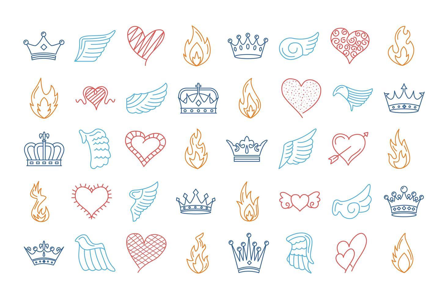 Bündel von vierzig Flügeln und Flammen mit Herzen und Kronen vektor