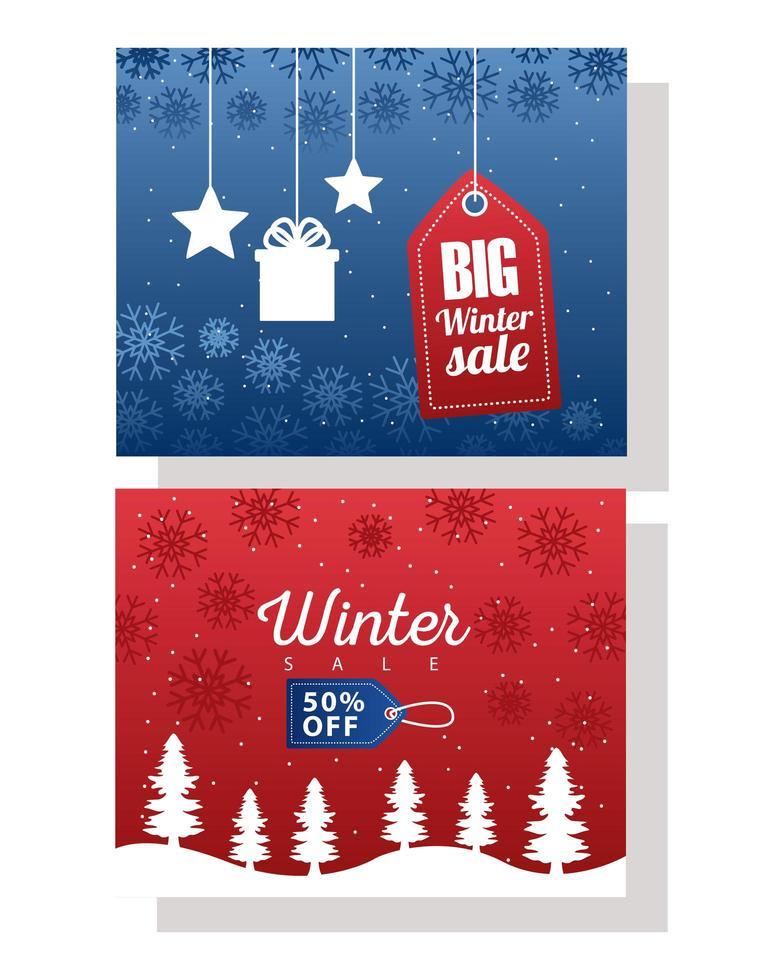 stor vinterförsäljningsaffisch med blå och röda taggar hängande vektor