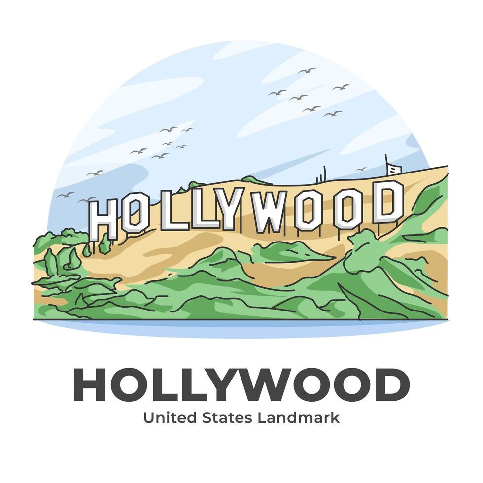 Hollywood USA Wahrzeichen minimalistischen Cartoon vektor
