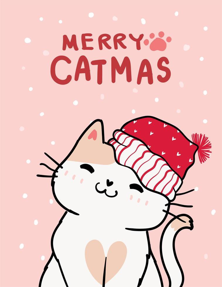 god jul gratulationskort med söt katt vektor