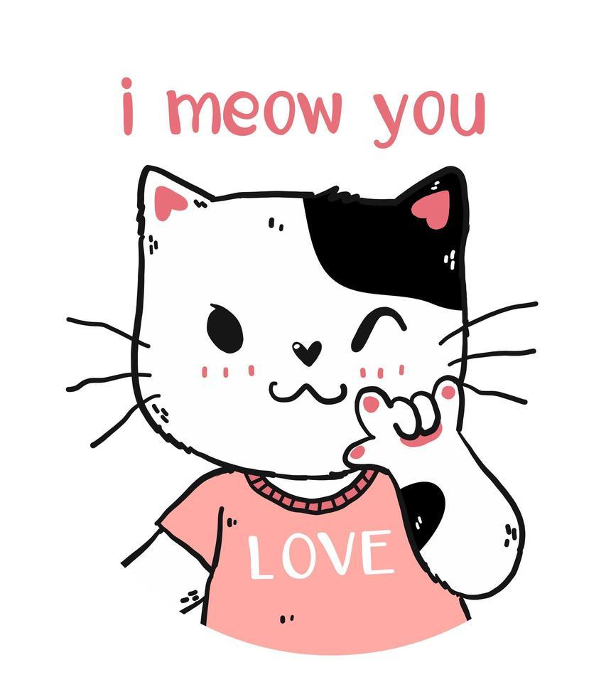 söt glad vit och rosa kattdesign vektor