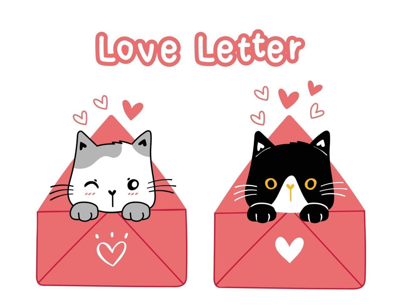 alla hjärtans svarta och vita katter med kärleksbrev vektor