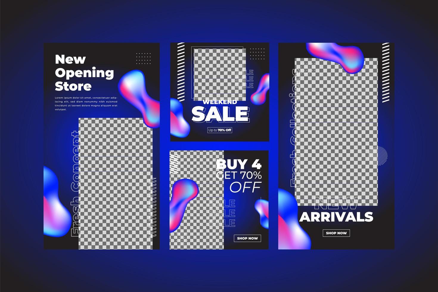 färgglada flytande neon sociala medier mall set vektor