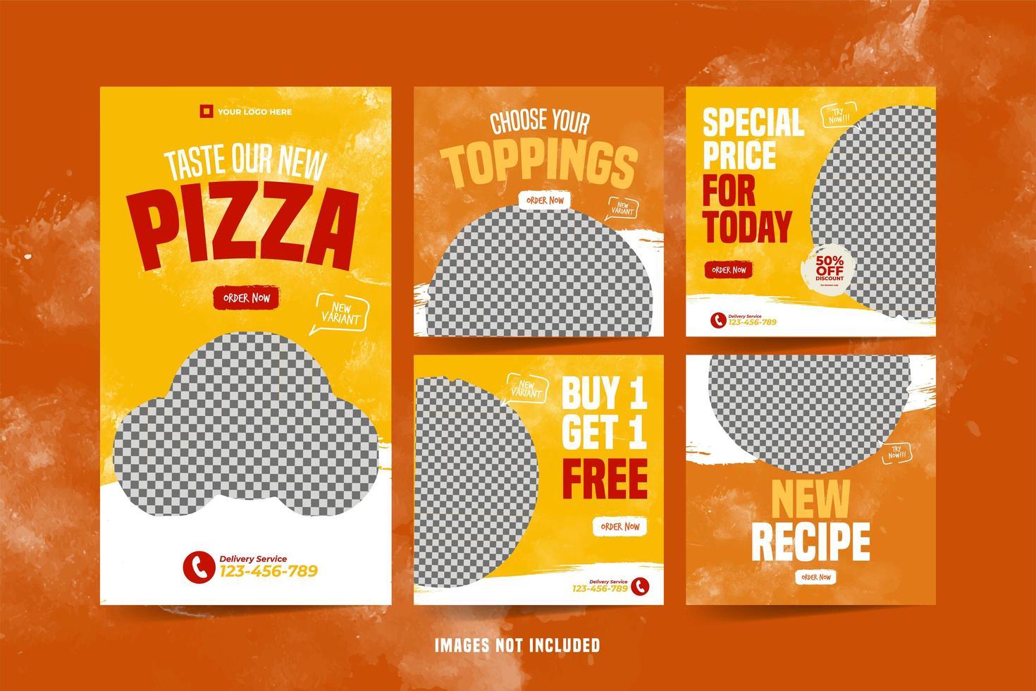 pizza banner för sociala medier reklam mall uppsättning vektor