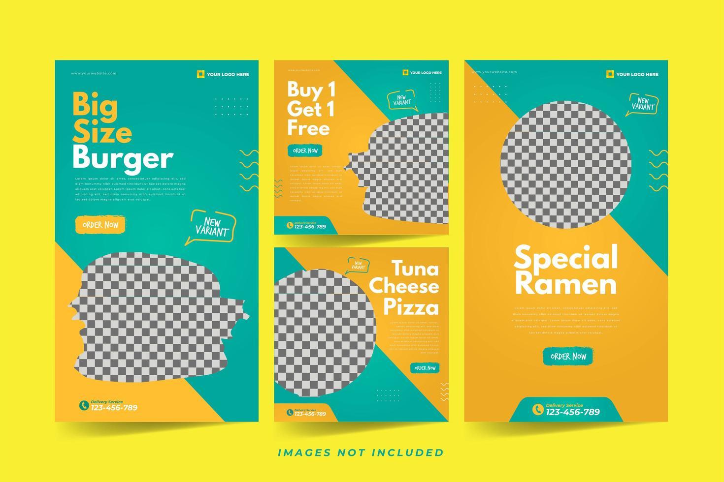 restaurang banner för sociala medier reklam mall uppsättning vektor