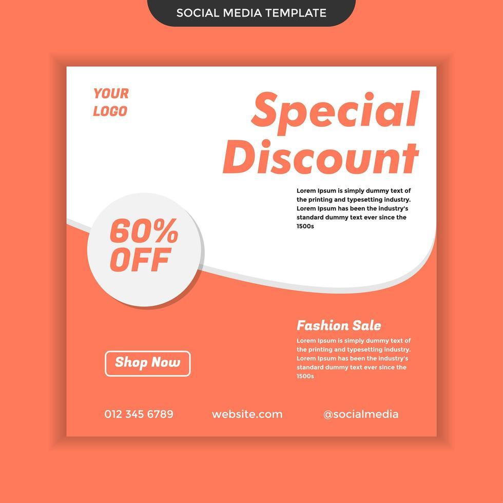 spezielle Rabatt Social Media Vorlage. einfach zu bedienen und bearbeitbar. Premium-Vektor vektor