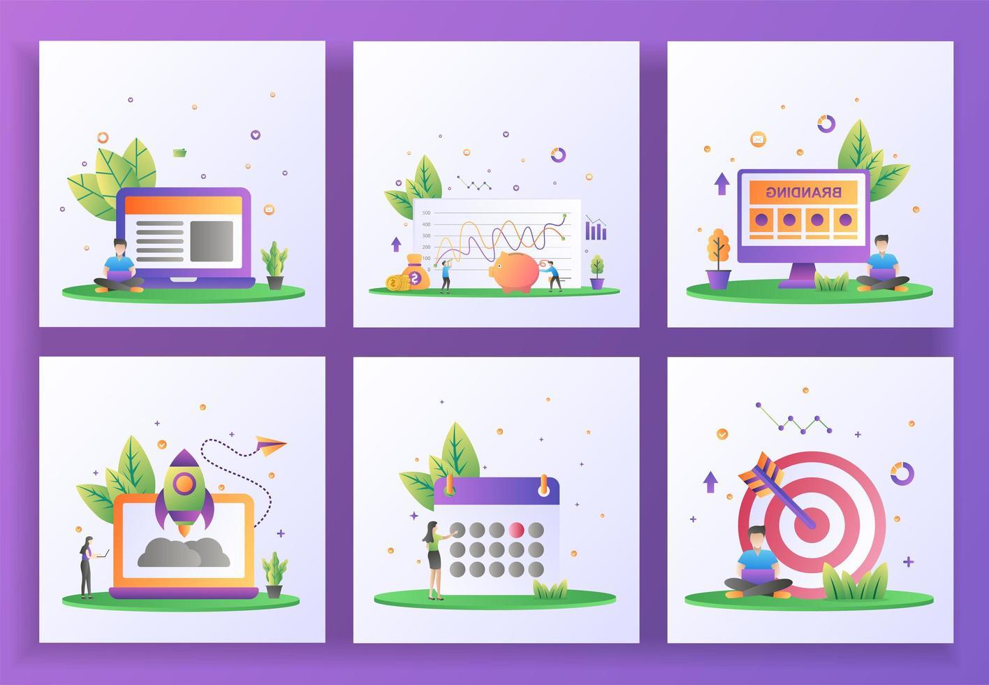 uppsättning platt designkoncept. management, investeringar, branding, startup, schema vektor
