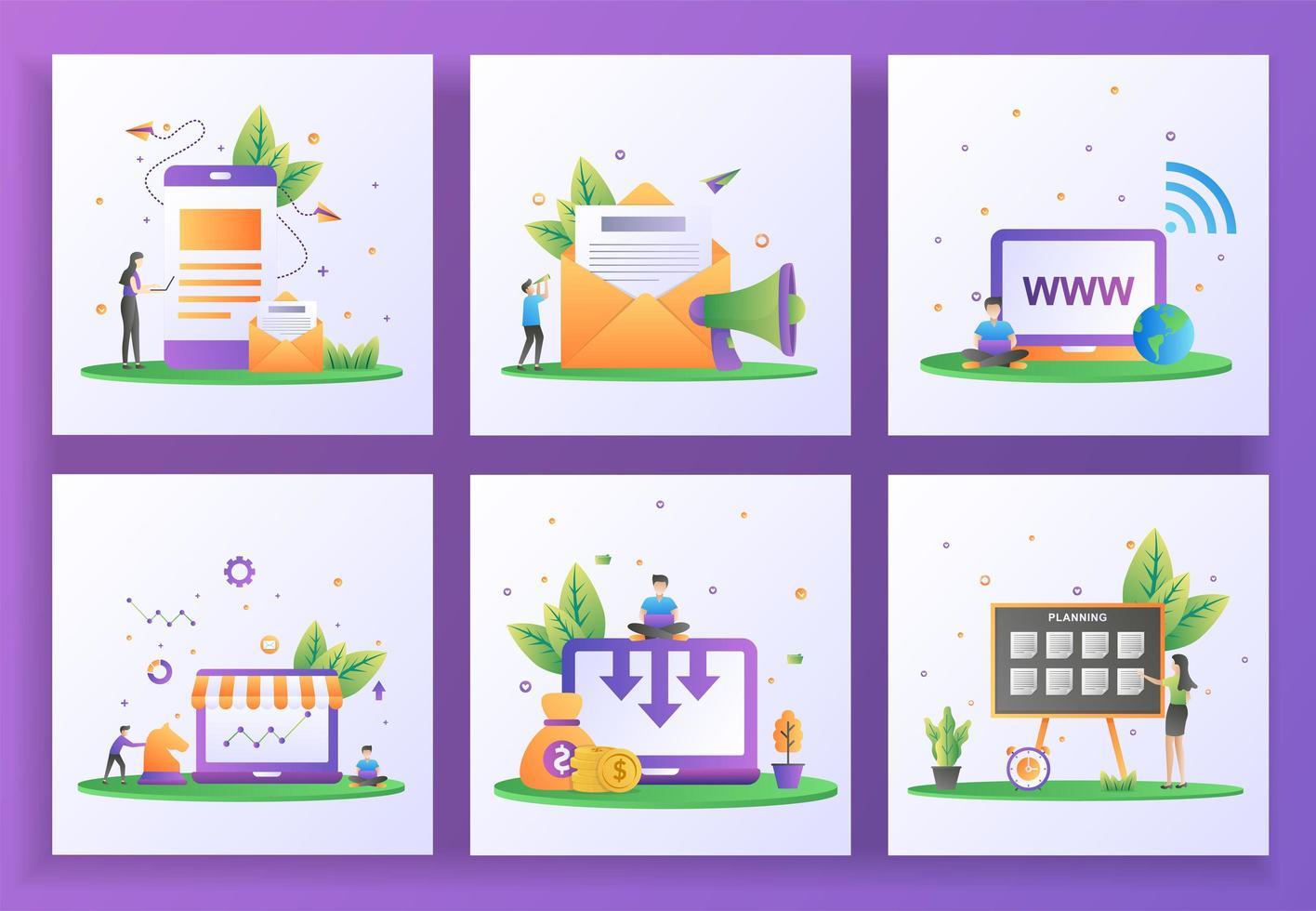 uppsättning platt designkoncept. digital marknadsföring, e-postmarknadsföring, webbplats, strategimarknadsföring vektor