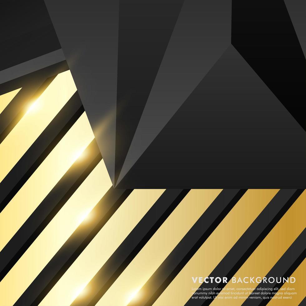 svart grå polygon med guld ljuseffekt bakgrund vektor
