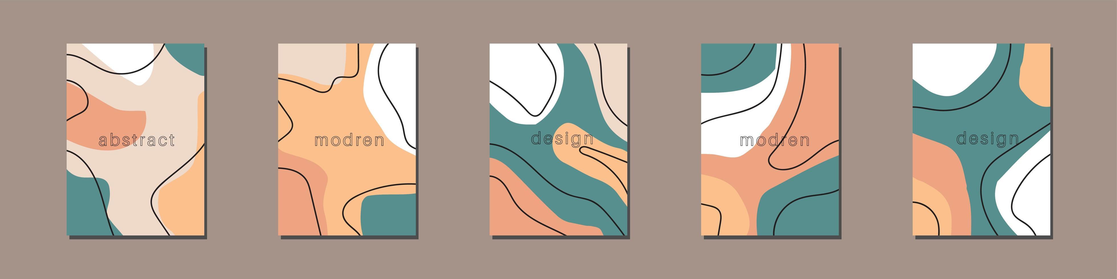 samling av kreativa berättelsemallar med kopieringsutrymme för text. modern vektorlayout med handritade organiska former och texturer. trendig design för sociala medier marknadsföring digitala banner utskrift. vektor