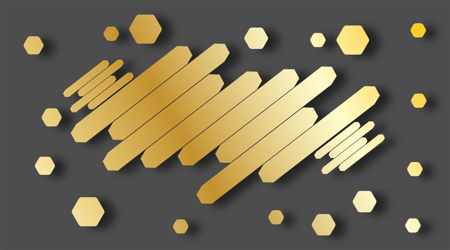 moderner abstrakter Stil mit Komposition aus verschiedenen parallelen goldenen Sechsecken. Vektorillustration. vektor