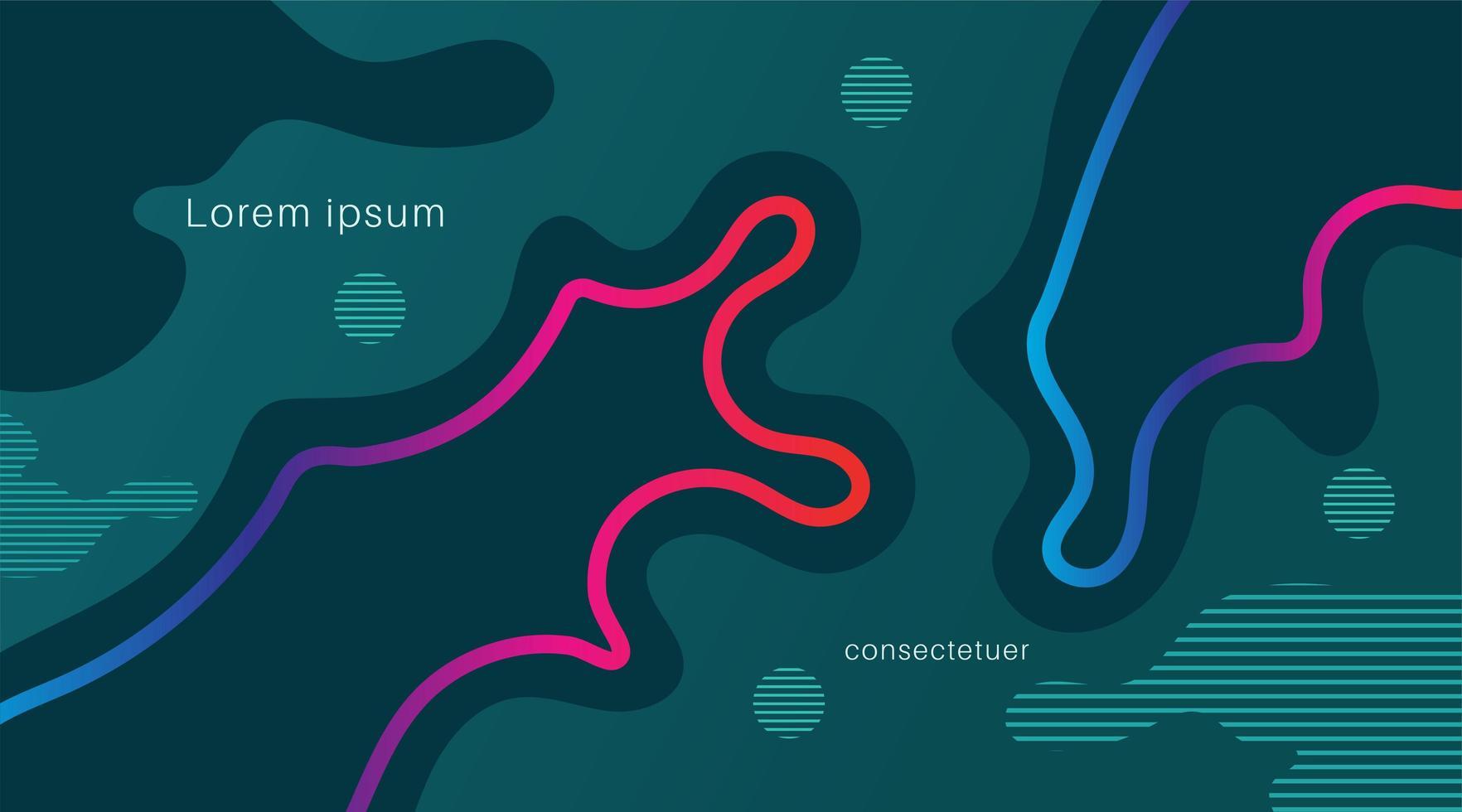 dynamiska färgade former och vågor. lutning abstrakt banner med flytande flytande former. vektor bakgrund