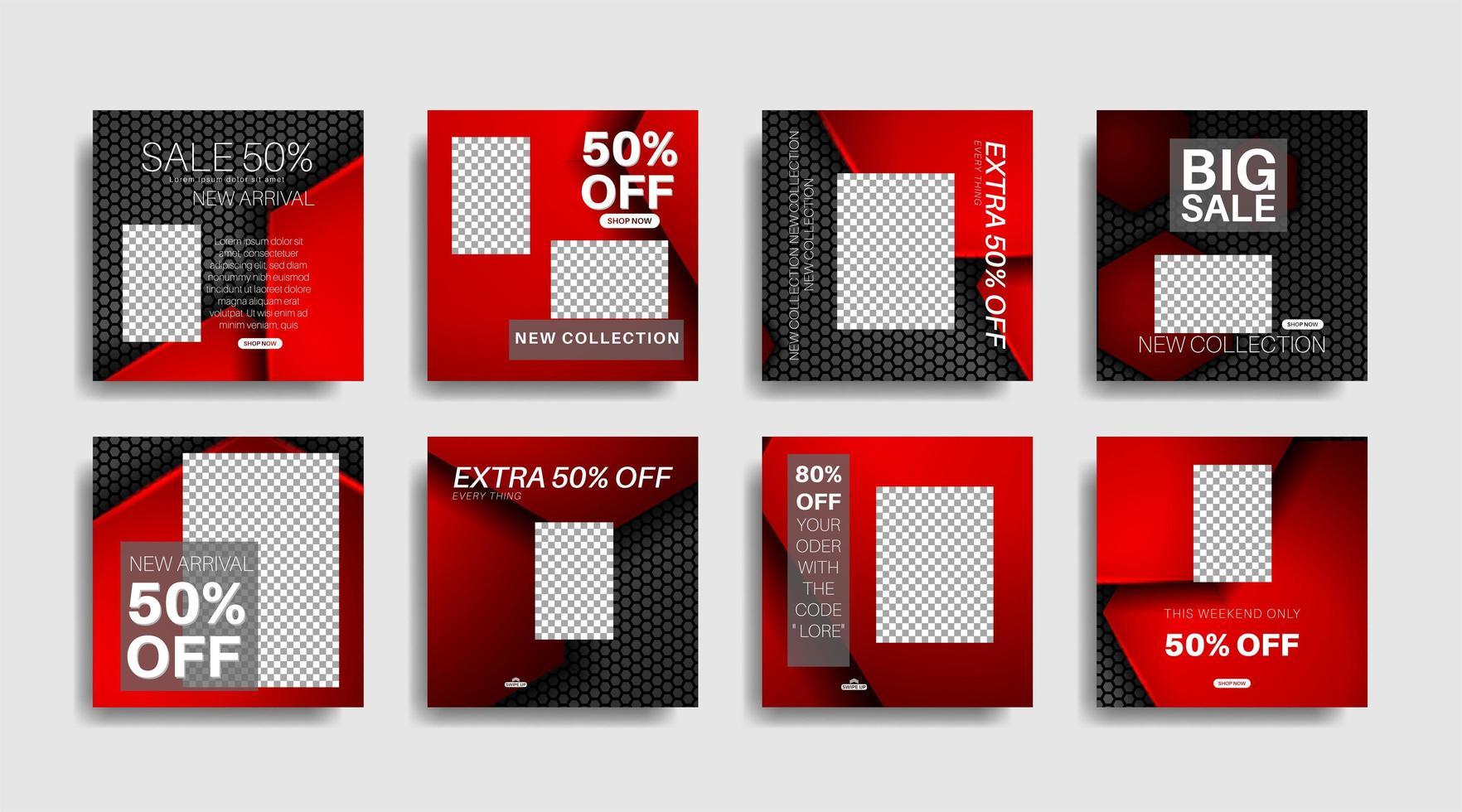 moderna fyrkantiga redigerade reklambanderoller för inlägg på sociala medier. vektor design illustration