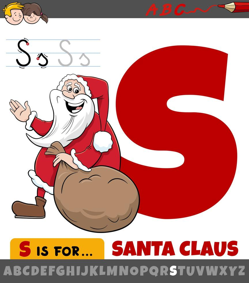 Brief s Arbeitsblatt mit Cartoon Santa Claus vektor