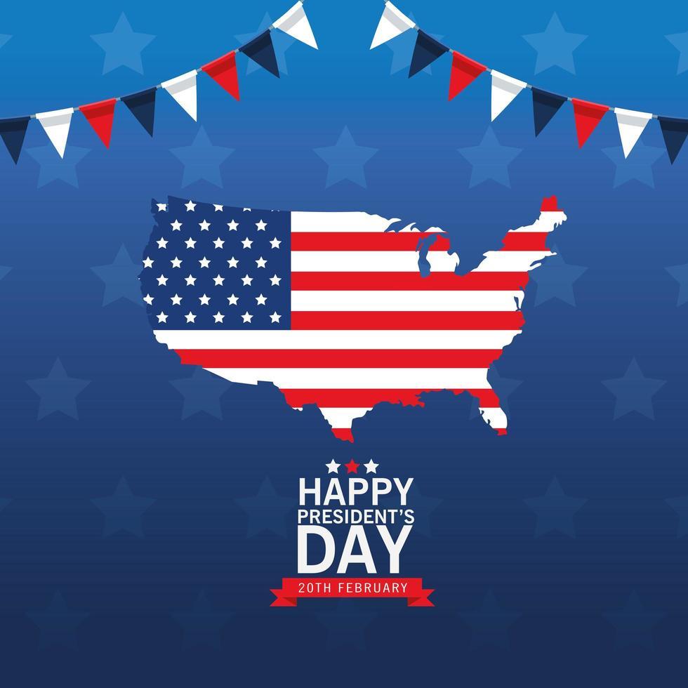 Happy Presidents Day Poster mit USA Karte und Flagge vektor
