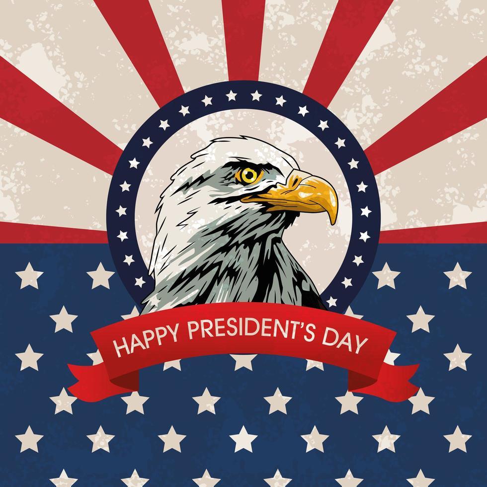 glückliches Präsidenten-Tagesplakat mit Adler- und USA-Flagge vektor