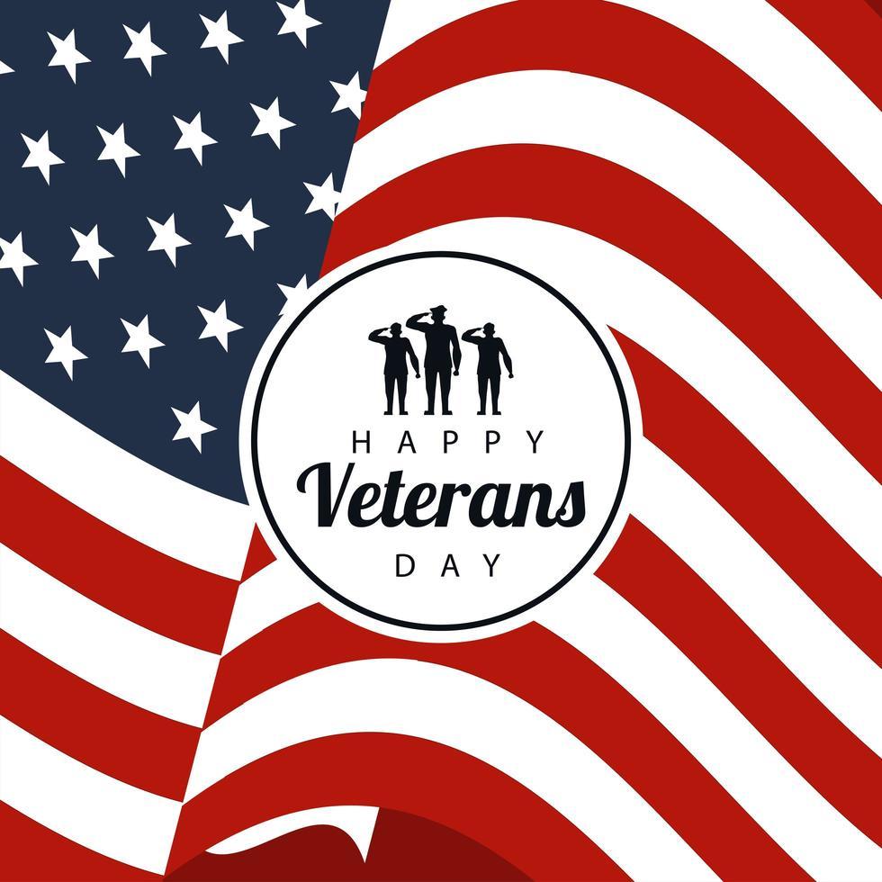 Glücklicher Veteranentag, der im Plakat mit Soldaten im kreisförmigen Rahmen USA Flaggenhintergrund beschriftet vektor